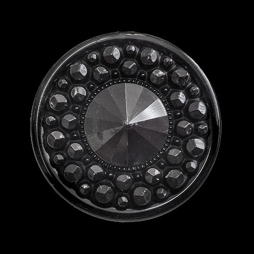 www.knopfparadies.de - 2225sc - Schwarz funkelnde Kunststoffknöpfe