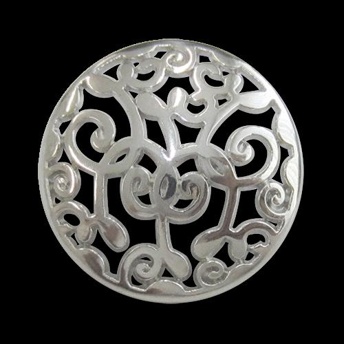 www.Knopfparadies.de - 3165si - Nostalgische Ösenknöpfe aus Metall mit Durchbruch in Silber