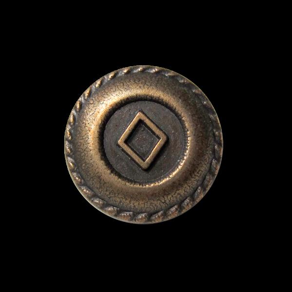 Kleiner altmessingfb. Metallknopf mit Raute für Blusen
