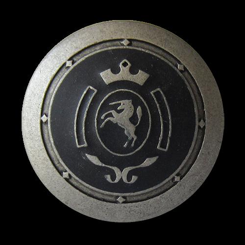 www.Knopfparadies.de - 0317sz - Blau silberfarbene Metallknöpfe mit Einhorn Wappen