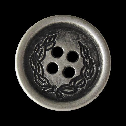 www.Knopfparadies.de - 4074as - Silberne Vierloch Metallknöpfe mit Ranken oder Kranz Motiv