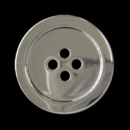 www.knopfparadies.de - 2697sg - Glänzend silberfarbene Metallknöpfe mit vier Löchern