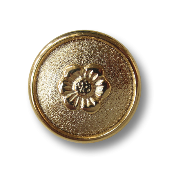 Gewölbter goldfarbene Ösen Metall Knopf mit Blümchen