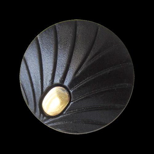 www.Knopfparadies.de - 1588sg - Elegante schwarz goldene Ösen Kunststoffknöpfe