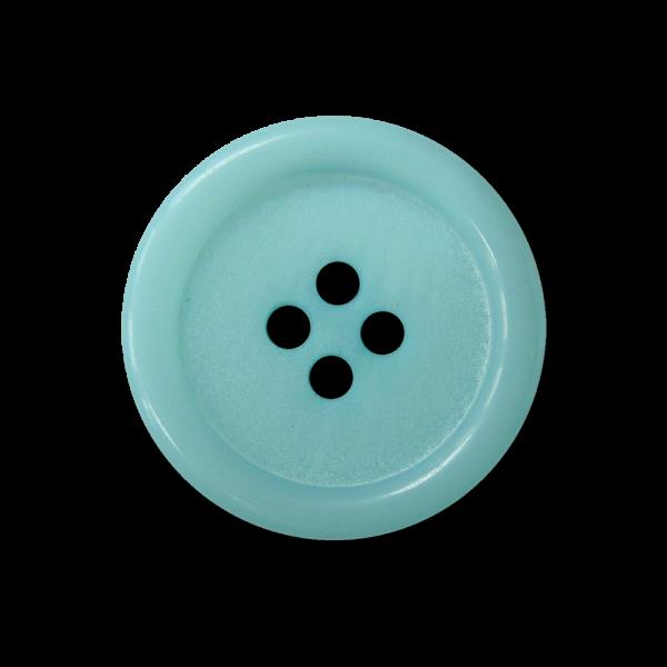 Hübscher hell türkis blauer Vierloch Kunststoff Knopf