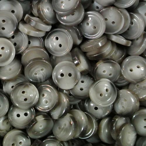 Kleiner grau melierter Zweiloch Kunststoff Knopf