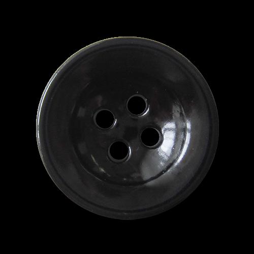 Vierloch Metall Knopf in glänzend Schwarz lackiert