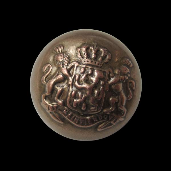 Leichter Halbkugel Knopf mit Wappen, Krone & Löwen
