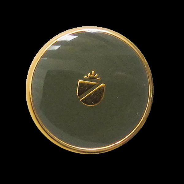 Metall Wappen Knopf mit Öse in glänzend Dunkelgrün und Goldfarben