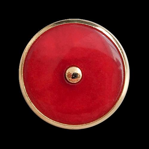 www.knopfparadies.de - 6031ro - Rote Blazerknöpfe mit goldfarbenem Rand