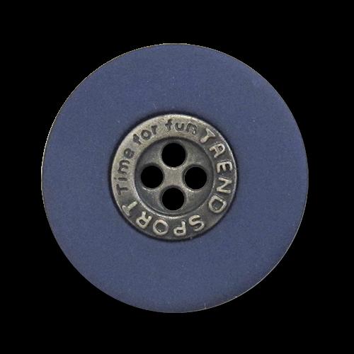 www.Knopfparadies.de - 0466bl - Moderne Vierlochknöpfe in Silber & Blau mit Text