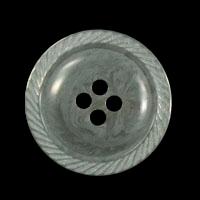 Grau melierter Vierloch Kunststoff Knopf mit Zierrand