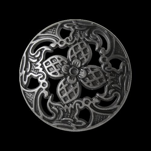 www.knopfparadies.de - 4396as - Umwerfende Metallknöpfe mit Durchbruchmuster und Blütend