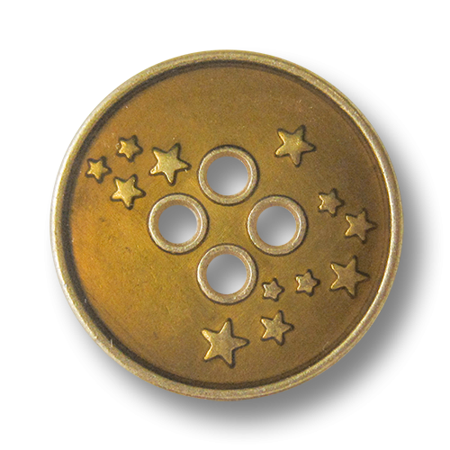 www.Knopfparadies.de - 4276go - Freche Sternknöpfe aus Metall in Gold