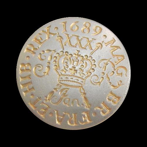 www.Knopfparadies.de - 3977mg - Edle Münzknöpfe aus Metall in Gold & Silber