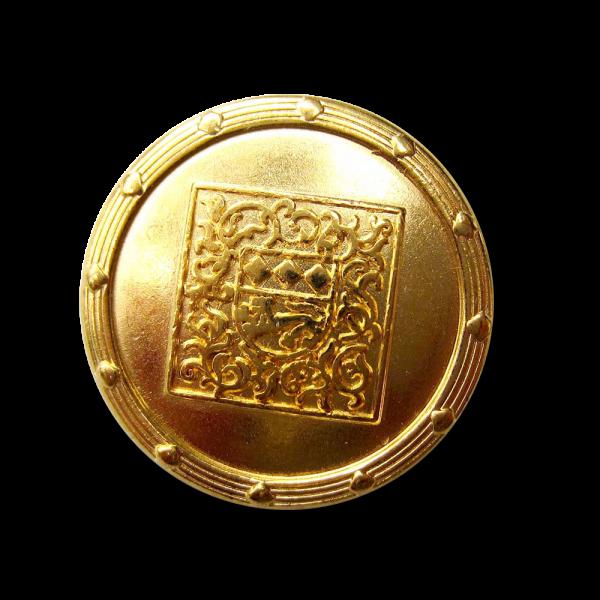 Goldfb. Metall Knopf mit Wappen & nostalgischem Muster