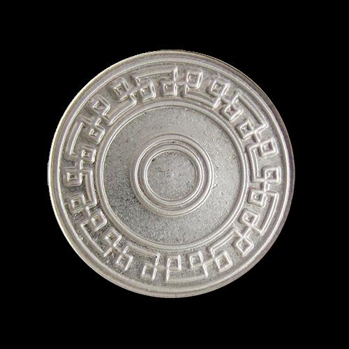 www.knopfparadies.de - 5917si - Matt silberfarbene Metallknöpfe mit grafischem Muster