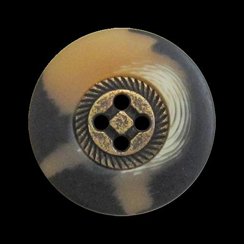 www.knopfparadies.de - 1014br - Trachtenknöpfe mit Metallmitte und Kunststoffrand
