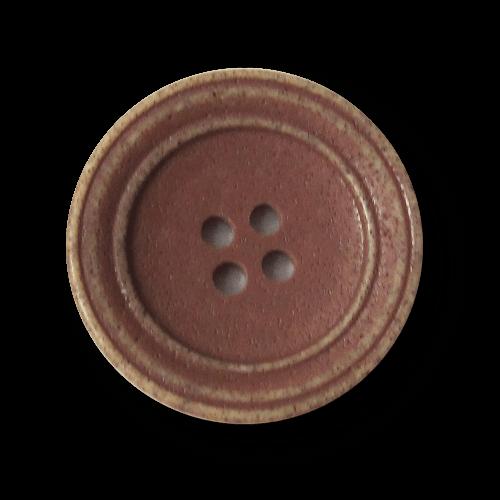 Tellerförmiger rotbrauner Kunststoff Knopf