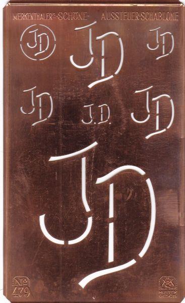knopfparadies.de - JD-sch-479 - Stickschablone, Aussteuer-Schablone Kupfer Monogramm