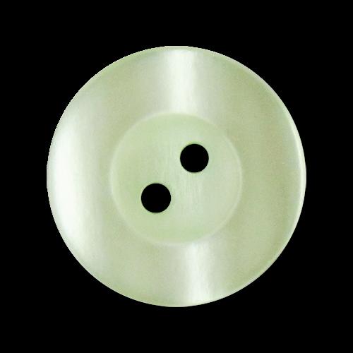 Hellgrün schimmernde Kunststoffknöpfe mit zwei Löchern und breitem Rand