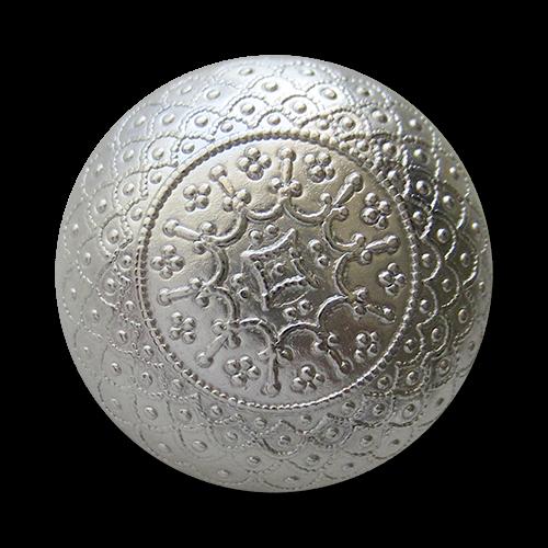 www.knopfparadies.de - 1546si - Nostalgische silberne halbkugelförmige Metallknöpfe mit filigranen Ornament Muster