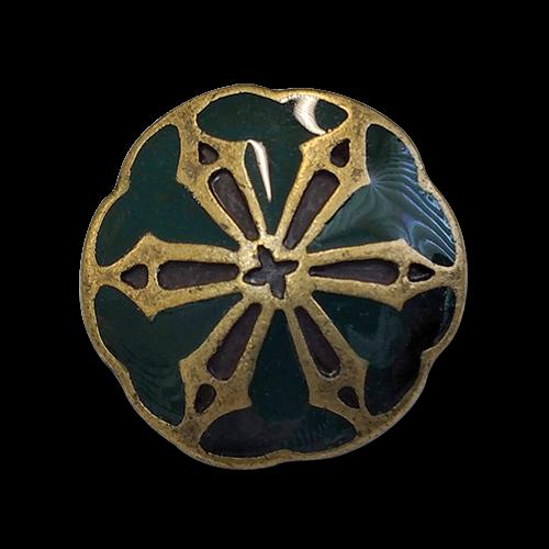 www.knopfparadies.de - 0353gn - Messingfarbene Metallknöpfe, dunkelgrün emailliert