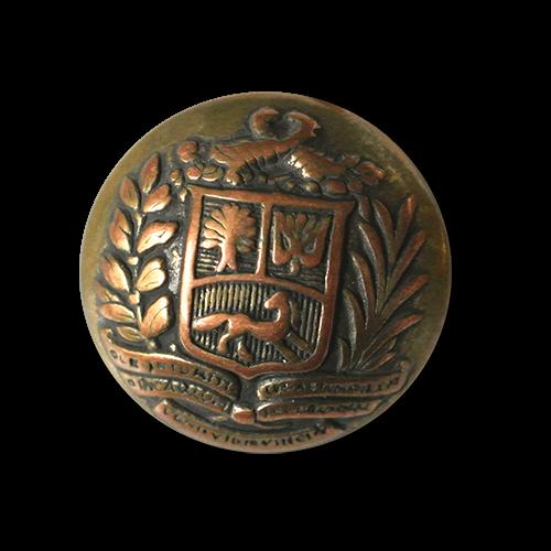 Feudaler messing-kupferfb. Metall Knopf mit Wappen