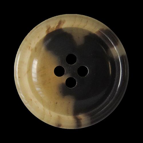 www.Knopfparadies.de - 5869bf - Edle blond braun melierte Vierloch Kunststoffknöpfe in Büffelhorn Optik
