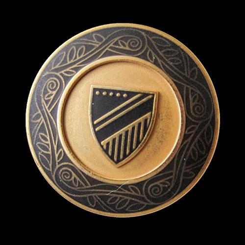 www.Knopfparadies.de - 5549sc - Edle schwarz goldene Wappenknöpfe aus Metall mit Zierband