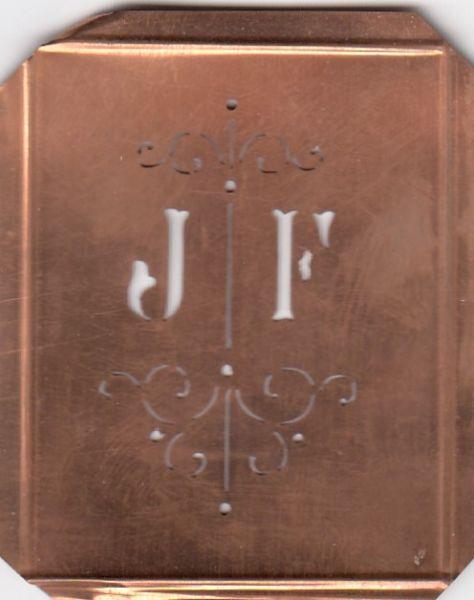 Sehr niedliche, uralte Stickschablone mit den Initialen JF