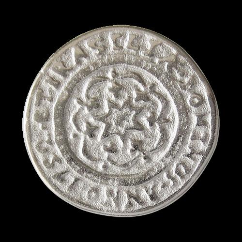 www.Knopfparadies.de - 0321si - Älter wirkende silberne Ösen Metallknöpfe mit Stern Motiv und Inschrift