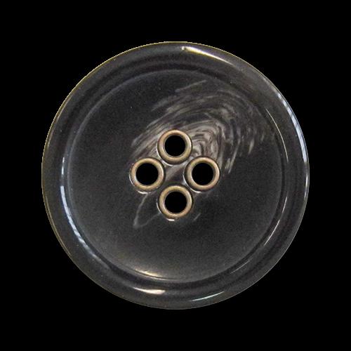 www.knopfparadies.de - 5981dm - Dunkelbraune Kunststoffknöpfe mit messingfarbenen Knopflöchern