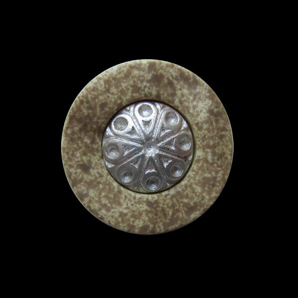 Kleiner uriger Trachten Knopf mit Metall Applikation
