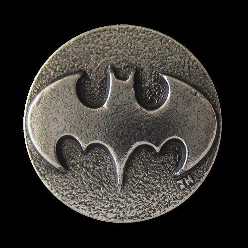 www.knopfparadies.de - 5312as - Schwere Metallknöpfe mit Superhelden Motiv: Fledermaus