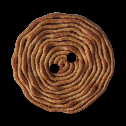 www.Knopfparadies.de - 5903mb - Originelle mittelbraun melierte Kunststoffknöpfe wie aufgerolltes Garn