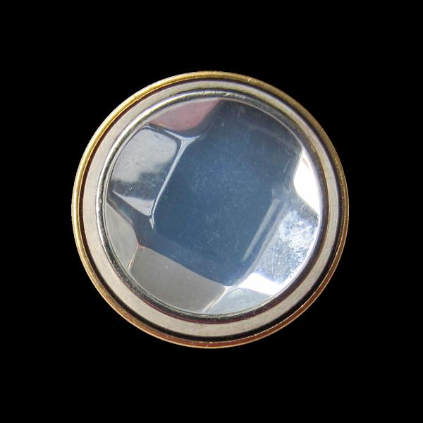 Bicolor Metall Knopf mit großem Schmuck Stein / B-WARE