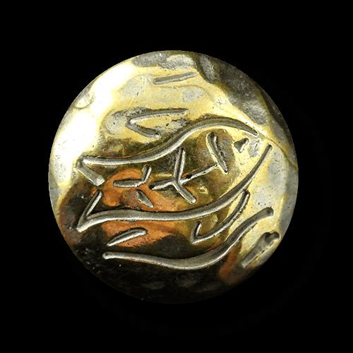 Metallknopf bi-color mit Fisch-Motiv