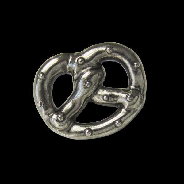 Zünftiger altsilberfarbener Trachtenknopf in Brezel Form aus Metall