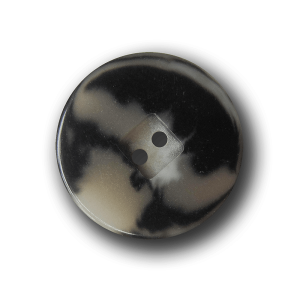 Schwarz melierter Knopf mit Viereck in Horn-Optik