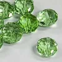 Packung: 5 grüne geschliffene Glasperlen