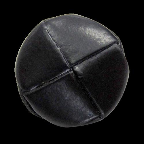 www.Knopfparadies.de - 5812sc - Edle schwarze Lederknöpfe mit Metall-Öse