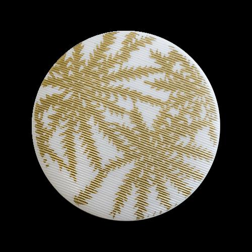 www.knopfparadies.de - 6139wg - Weiß-goldfarbene Kunststoffknöpfe mit Palmenmuster