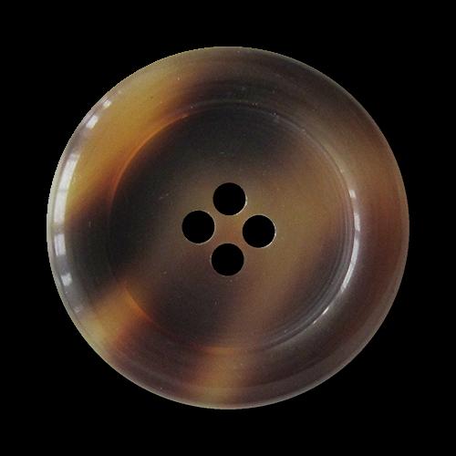www.Knopfparadies.de - 2563br - Edle braun melierte Kunststoffknöpfe in Horn- oder Schildpatt Optik
