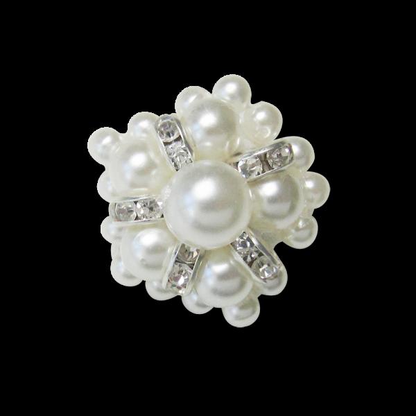 www.Knopfparadies.de - 4308pm - Extravagante Schmuck Knöpfe mit Strass und Perlen