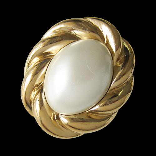 www.Knopfparadies.de - 1592pg - Elegante perlmuttweiß goldfarbene Schmuckknöpfe aus Kunststoff
