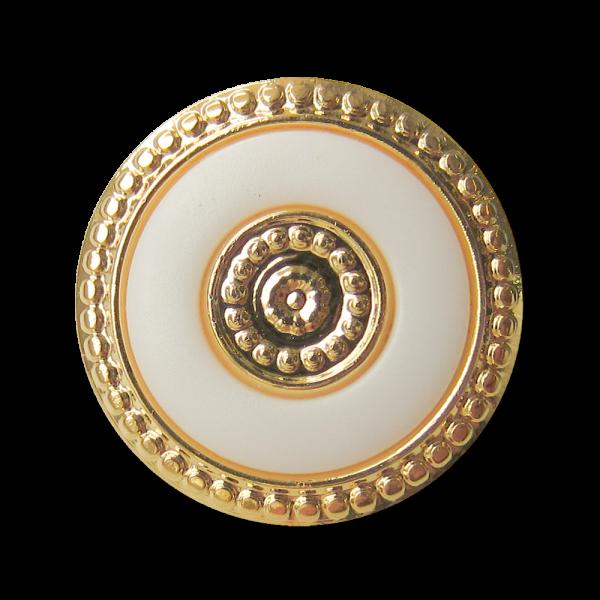 Kunststoff Ösen Knopf in Weiß & Goldfarben