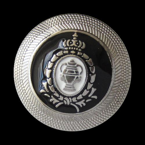Edle Blazerknöpfe in schwarz / silber mit Krone, Lorbeerkranz und Pokal
