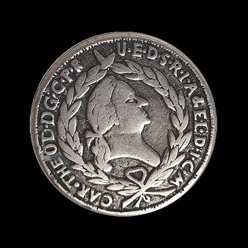 www.Knopfparadies.de - k807 - Alt wirkene altsilberfarbene Metallknöpfe nach einer Münue von 1794