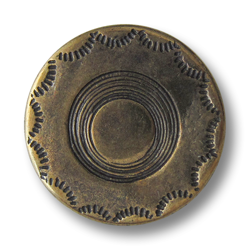 www.Knopfparadies.de - 2514am - Älter wirkende altmessingfarbene Metallknöpfe mit schlichtem Muster